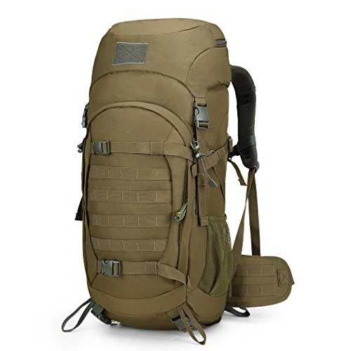 Mardingtop 50L Hiking Backpack Molle Internal Frame Backpacks with Rain Cover for Tactical Military Camping Hiking Trekking Traveling (Khaki-50L)