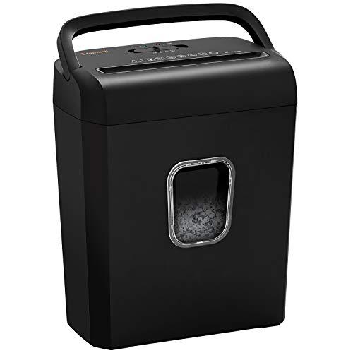 Bonsaii 8-Sheet Cross-Cut Paper Shredder, P-4 High-Security Credit Card & Staples Shredder Machine for Home Office Use, Portable Handle Design with 3.5 Gallons Wastebasket, Black (C234-B)