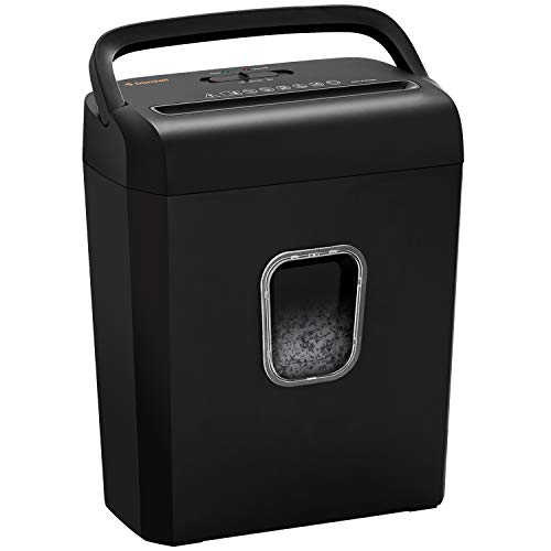 Bonsaii 8-Sheet Cross-Cut Paper Shredder, P-4 High-Security Credit Card & Staples Shredder Machine for Home Office Use, Portable Handle Design with 3.5 Gallons Wastebasket, Black (C234-B)