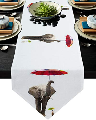 Seven Sunshine Elephant and Mouse with Umbrella Cotton Linen Burlap Table Runner Funny Animal Home Decorative Table Cloth Cover for Kitchen Dining Banquet Party/Parties Tabletop Picnic Dinner