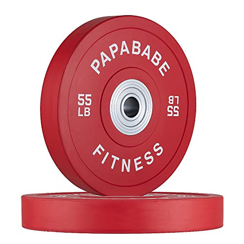 papababe Bumper Plate with Color Coded 2-Inch Olympic Rubber Weight Plate, Strength Training Weightlifting and Crossfit