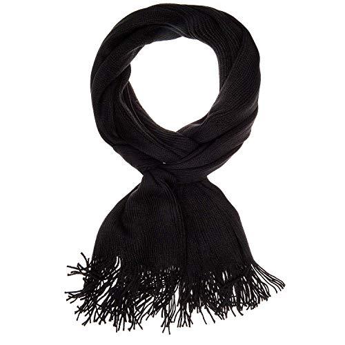 Gio Tetelli Mooie effen zachte sjaal doek met franjes, 30 x 165 cm