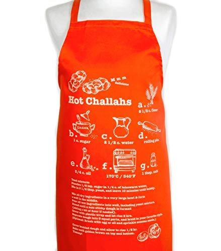 Barbara Shaw Gifts Hot Challah Bread recipe Orange Aprons for Women a great cooking apron Great Hostess or Shabat Gift Hand Made in Jerusalem gift packaged easy wash, generous size