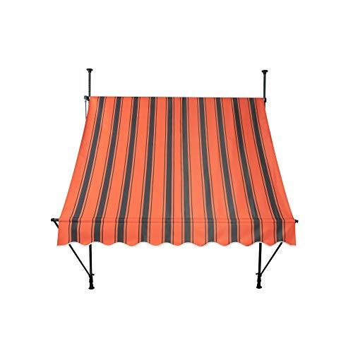 paramondo Jam Klemmmarkise Balkonmarkise ohne Bohren, Höhenverstellbar, UV beständig, mit Handkurbel, 2,50 x 1,20 m, Stofffarbe Orange