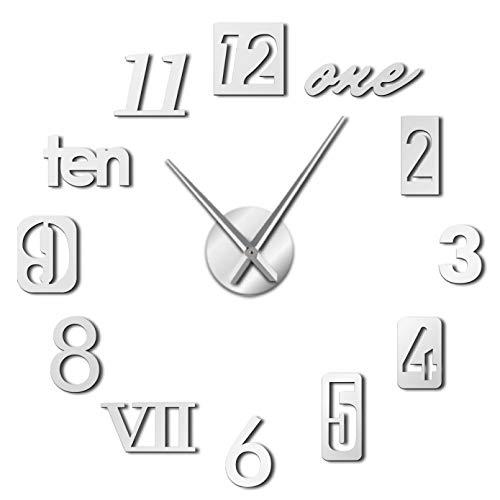 YQMJLF Reloj Pared DIY 3D Grande Números Mixtos Estilos Números Reloj de Pared Moderno Acrílico Efecto de Espejo Números Pegatinas Reloj de Pared Gigante de Bricolaje Decor Navidad Regalo Plata