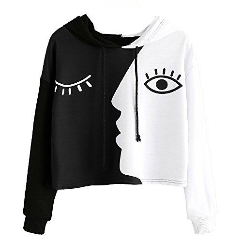 Damen Auge gedruckt Sweatshirt Langarm Weiß Kurz Tops Bluse-Frauen mit Kapuze Crop Patchwork Bluse Pullover -Frauen Streetwear-Damen Bluse-Damen Hoodies Mit Plus Größe(Schwarz,S)