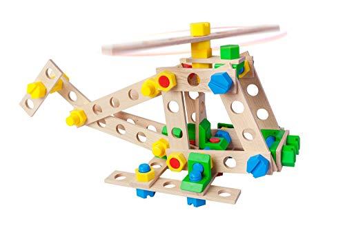 A ALEXANDER 2161 Constructor Junior 3 in 1 Set Hubschrauber Bausatz, 80 Teile Holzbaukasten, Experimentierkasten mit Holz und Kunststoff Elementen, Konstruktionsspielzeug für Kinder ab 4 Jahren