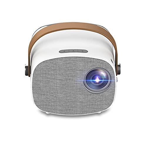 WJMM - Proyector, batería de litio integrada con mango proyector de vídeo doméstico HD 1080p, compatible con ordenador, disco duro móvil, DVD y más.