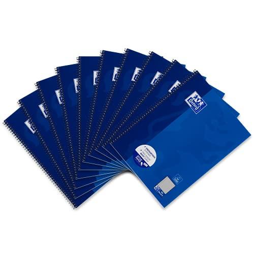 Oxford Schule Collegeblock A4, kariert, 80 Blatt, blau, 10er Pack
