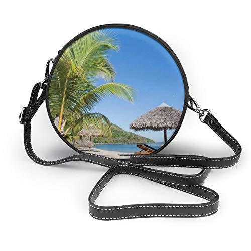 Borse a tracolla Borse rotonde donna Paesaggio tropicale spiaggia con sdraio e parasole Borsa a tracolla in pelle con tracolla