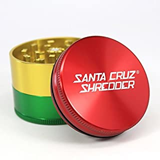 Medium Santa Cruz Shredder Rasta 3 Piece Grinder with a Cali Crusher Pollen Press
