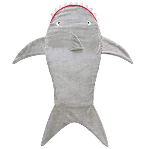 CWBB Kinder Meerjungfrau Dinosaurier Muster Mehrzweckdecke,Anti-Kick Kinder Krokodil Schlafsack,Flanell Fleece Alle Jahreszeiten Schlafsac, Meerjungfrau Decke,Shark