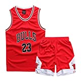 LHWLX Garçon Fille Basket Maillots James#23 Jordan # 23 Uniforme de Basketball Jersey T-Shirt et Shorts Suit Sportwear Ensemble pour Enfant Teenager (Taille 110-165 cm)