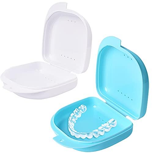 Y-Kelin 2 PCS Retenedor de ortodoncia Contenedor Retenedor Caja de dentadura parcial (Azul claro + blanco)