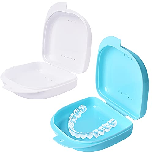 Y-Kelin 2 Pcs Retainer Box Retainer Case Retainer Container Partial Mouth Guard Container Case Denture Box Orthodontic Denture Storage Boxes with Vent Holes (Light Blue+White)