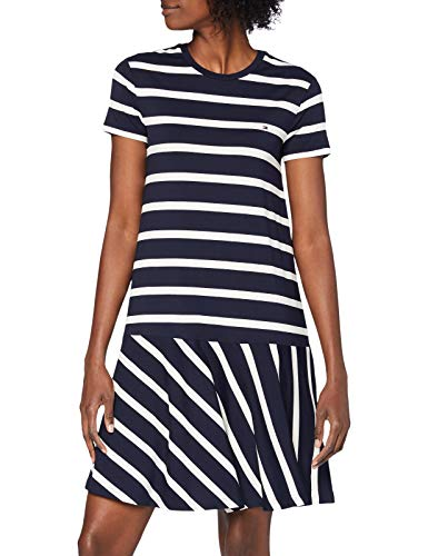 Tommy Hilfiger Damen Tiffany Relaxed C-nk Dress Kleid, Blau (Breton STP/White -Desert Sky 0Zc), 34 (Herstellergröße: Small)