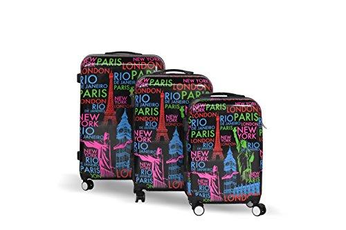 20' Paris Metro Lightweight 4 Wheel Spinner Hard Shell Suitcase Luggage Trolley Set Cabin Case Sets Travel Hand (20 inch, Paris Metro)