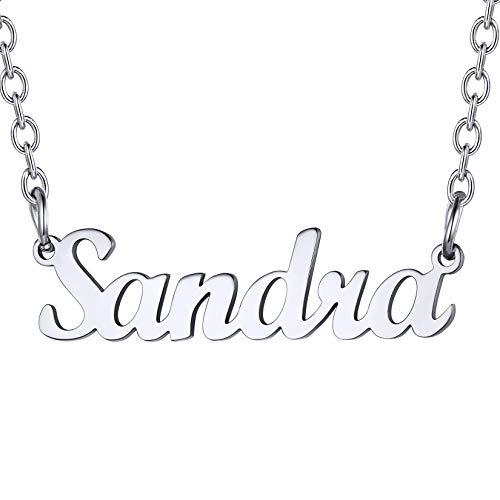 U7 Sandra Collar Nombres para Muchachas Material Acero Inoxidable Tono Plata Colgantes Personalizables de Mujer