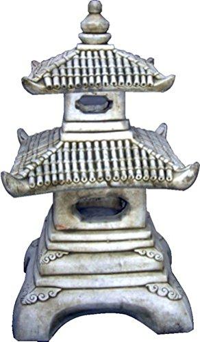 Figura Decorativa Pagoda Oriental de hormigón-Piedra para jardín o Exterior 52cm.Ceniza