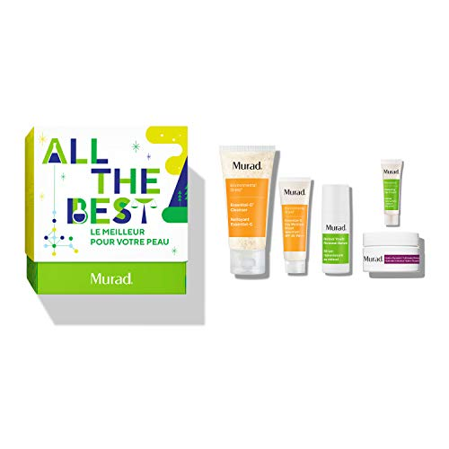 Murad All The Best Holiday Set with Trial Sizes of Essential-C Cleanser, Retinol Youth Renewal Serum, Hydro-Dynamic Ultimate Moisture, Renewing Eye Cream and Essential-C Day Broad Spectrum SPF 30