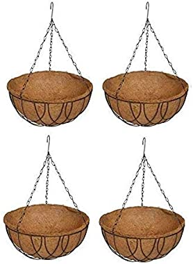 COIR GARDEN-Coir Hanging Basket 12 Inch 4 Pieces - Coco Gardening pots with Stand - Flower Pots Hanger Garden Decoration Indo