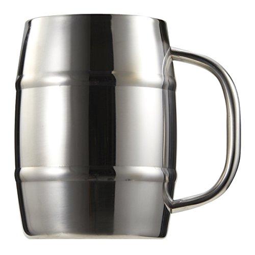 Captain Stagg Jarra de cerveza de vidrio tipo barril unts jarra doble acero...