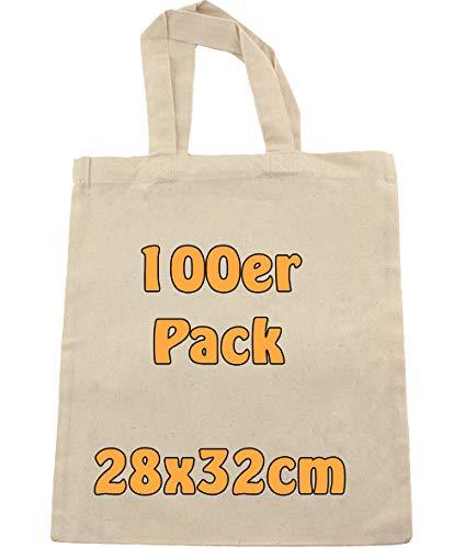 Cottonbagjoe | Baumwolltasche zum Bemalen | Jutebeutel | Stoffbeutel | Kurze Henkel | DIN A4 | Geschenktasche | Jutebeutel | Kindergarten, Schule | Natur | 100 Stück