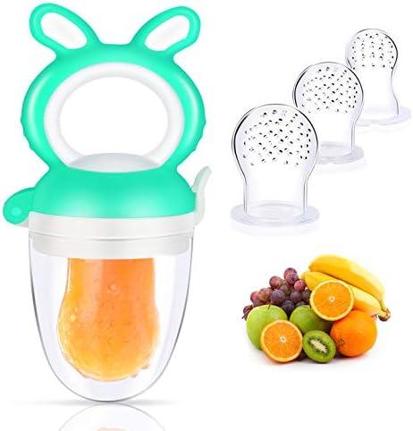 Oladwolf D'alimentation Pour Bébé Tétine à Fruit, Silicone Grignoteuse Bébé 3 Mois, Tetine Fruits Bebe+3 Tétines en S...