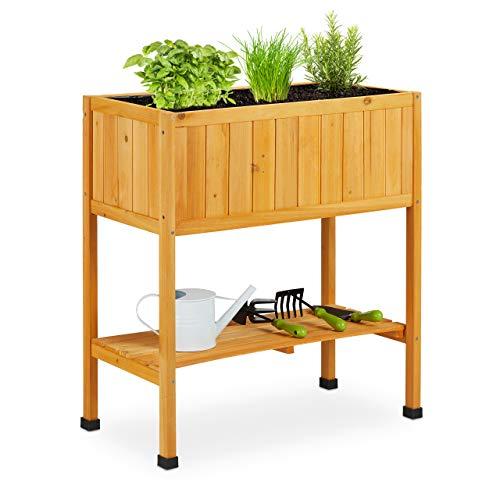Relaxdays Hochbeet Holz, Pflanzbeet auf Stelzen, HBT: 80,5 x 74 x 38 cm, Garten, Balkon & Terrasse, mit Folie, orange