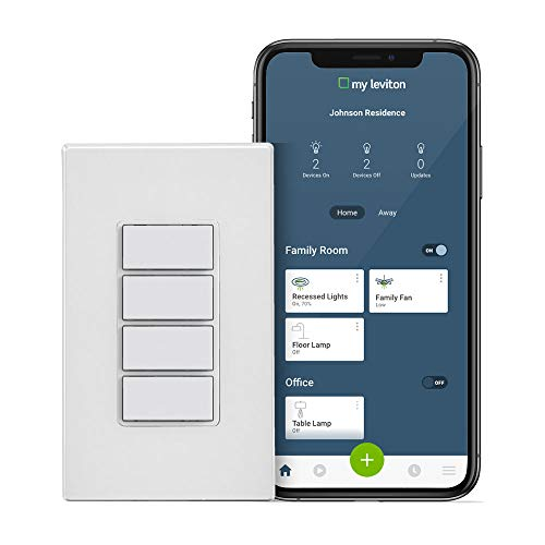 Leviton DW4BC-1BW Decora Smart Wi-Fi 4 Button Controller, No Hub Required, 1 Pack, White, Wall plate included