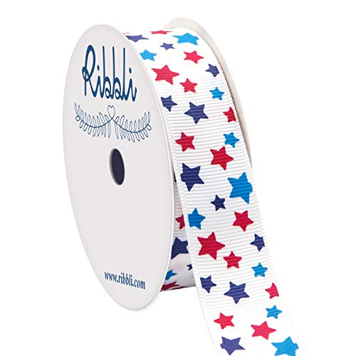 Ribbli Grosgrain Stars Patriotic Craft Ribbon,7/8-Inch x 10-Yard,White/Navy/Blue/Red,Use for Memorial Day, Veterans Day, 4th of July, President's Day, USA Decorations