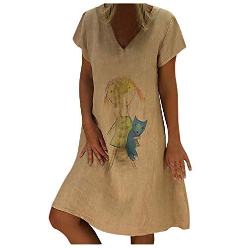 TEBAISE Leinenkleid Sommerkleid Damen Neu V-Ausschnitt Boho Kleid Einfarbig Strandkleider A-Linie Kleid Leinen Knielang Lässig T-Shirt Kleider Minikleid Kurzarm Blusenkleid