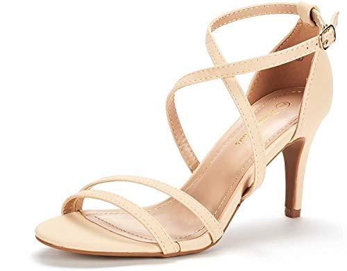 DREAM PAIRS Women's Gigi Nude Nubuck Fashion Stilettos Open Toe Pump Heeled Sandals Size 8.5 B(M) US