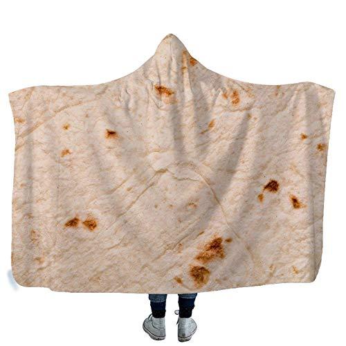 RGBVVM Manta con Capucha Bollos Blancos Manta de Lana de Microfibra con Estampado de Felpa 3D - Adecuada para Adultos niños Picnic hogar y Actividades al Aire Libre 130x150 cm