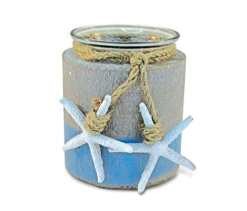 Puzzled Ocean Breeze Pillar Candle Holder - Nautical Themed Tea Light Holders, Beach Candle Holder Decor for Tabletop, Novelty White Starfish Resin Figurine, Coastal Table Decor Centerpiece - 3.5'