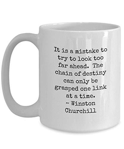 N\A Taza con Citas de Winston Churchill, Regalo para Amantes de la Historia, Cadena de Destino, Taza de café o té de cerámica Blanca