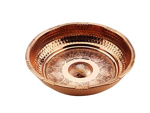 my Hamam, Hamamschale Mini 15,5 cm Durchmesser, aus Kupfer mit orientalischen Kreisdeko Verzierungen, Dekoschale, Wasserschale