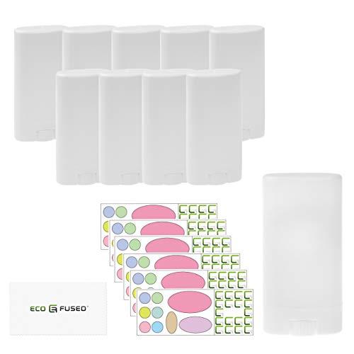 Paquete de 10 Contenedores de Desodorante Eco-Fused - Blancos - 0.5 Oz (15 ml) - 60 Etiquetas Grabables - Mecanismo de Giro - Contenedores de Cosméticos Recargables DIY Desodorante, Bálsamo Labial