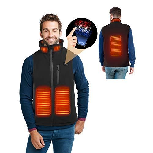 Chaleco Calefactado, Interruptor de Dual Controlde de Chaqueta Calefactada Ligera Con 4 Zonas de Calefacción y 3 Ajustes de Temperatura para Calentar el Cuerpo en Frío Invierno (M)