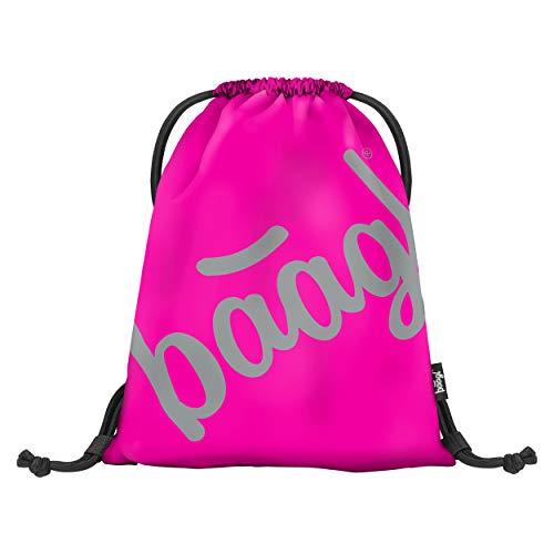 Baagl Turnbeutel für Jungs und Mädchen - wasserdichte Sportbeutel für Junge, Kinder, Teenager - Schule und Sport Schuhbeutel, Sportsack mit Reflektiven Elementen (Pink)