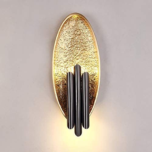 BDwantan Lámpara de pared con fondo creativo para sala de estar, luz de pasillo de lujo, para TV posmoderna con fuente de luz, lámpara de pared, 18 x 46 cm (color: lámina dorada)