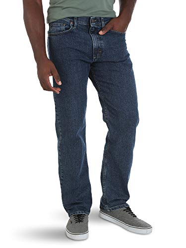 Wrangler Authentics Men's Relaxed Fit Comfort Flex Waist Jean, Dark Stonewash, 32W x 29L