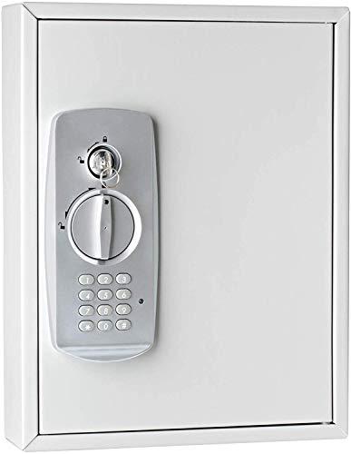 Wedo 10262137 Schlüsselschrank (für 21 Schlüssel, pulverbeschichtetes Stahlblech, mit modernem Elektronikschloss und zusätzlichem Standardschloß inklusive 2 Schlüssel) lichtgrau
