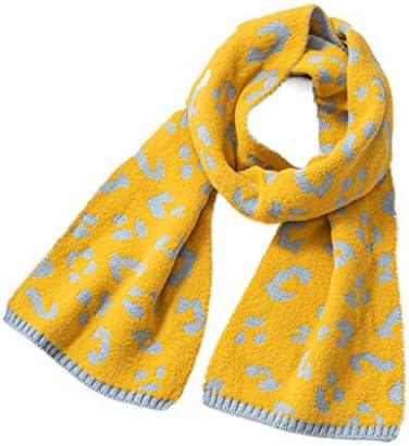 niumanery Kids Jongens Meisjes Winter Warm Gebreide Lange Sjaal Vintage Luipaard Neck Wrap Sjaal Geel