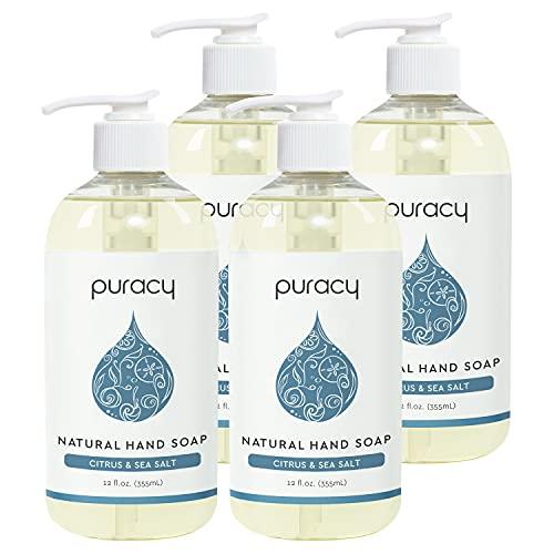 Puracy Natural Gel Hand Wash, Citrus & Sea Salt, Rich Foam, Easy Rinsing, Skin Softening, 12 Fl Oz (4-Pack)