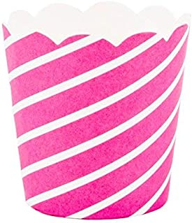 Simply Baked CPT-109 Petite Diagonal Disposable Paper Baking Cups, Fuschsia