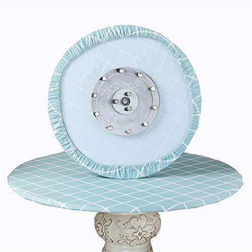 SYLC Mantel redondo impermeable antideslizante, mantel redondo para mesa circular, protector de mesa redondo resistente al calor y se limpia con un paño (rejilla verde azulada, 110 cm)