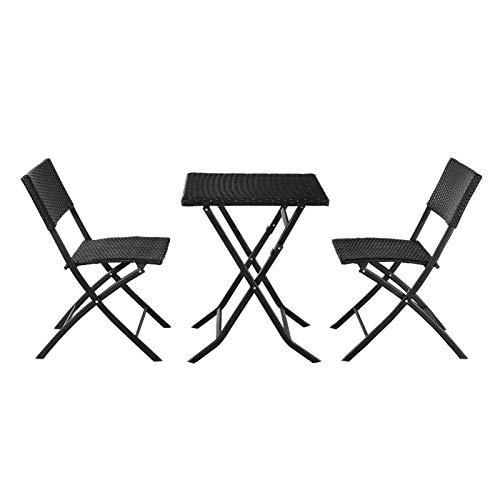 Youareking Outdoor Rattan Table Chairs Set, Folding Rattan Chair Three Piece Square Table, Patio Balcony Terrace Outdoor Furniture Sets, Black