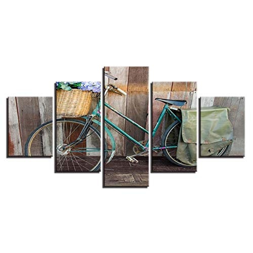 HD Prints Home Decor Canvas Schilderij 5 stuks houten muurkunst Modulaire Vintage / Retro fiets foto's voor de woonkamer kunstwerk poster (geen lijst) 30x40 30x60 30x80cm
