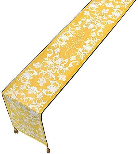 WYJW Wasbare overhemden, korte broek pluche tafelvlag, vierkant Europees-stijl tafelkleed, dubbele kwastjes aan beide uiteinden, klassieke stijl, breedte 30 cm (goud) (afmeting: 30x180 cm)